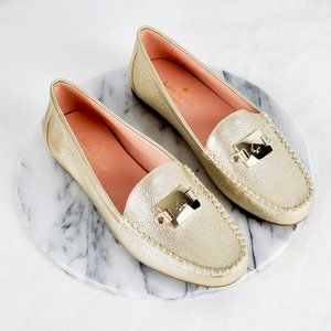 Kate Spade Carmen Leather Metallic Gold Loafers